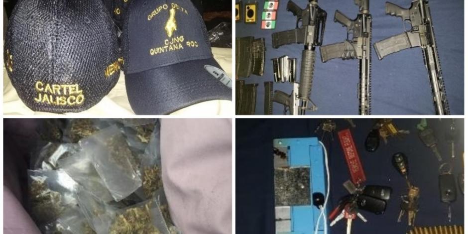 Semar y GN detienen a 13 con armas, droga y gorras de CJNG en Cancún