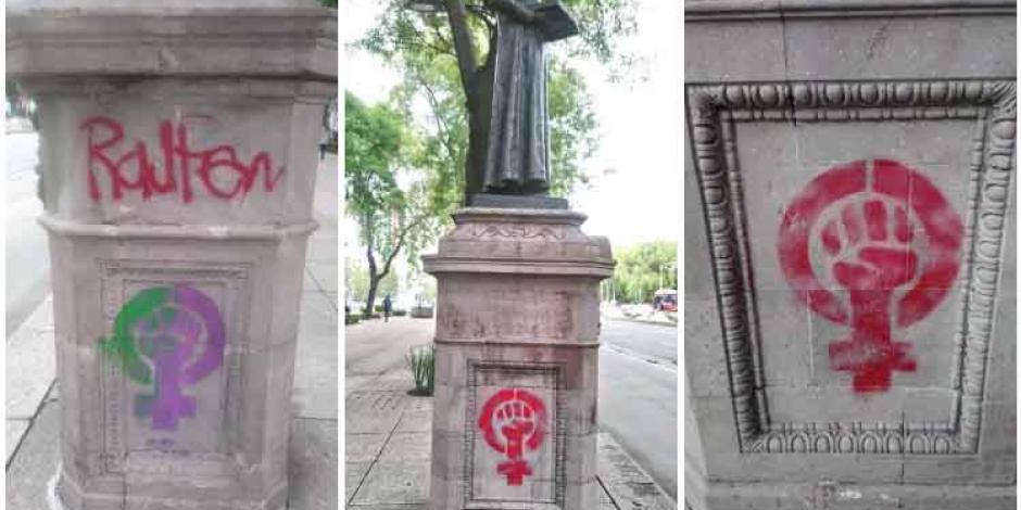 En marcha feminista vandalizan basamentos recién restaurados