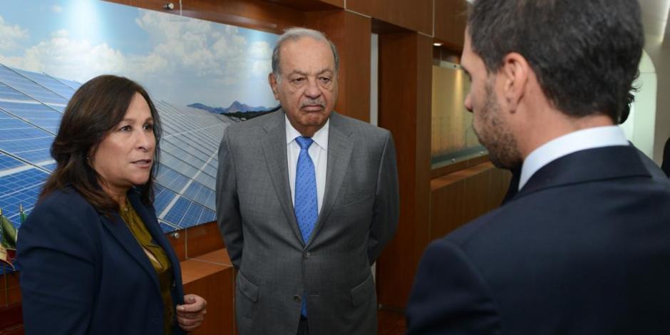 Carlos Slim se reúne con la secretaria Rocío Nahle