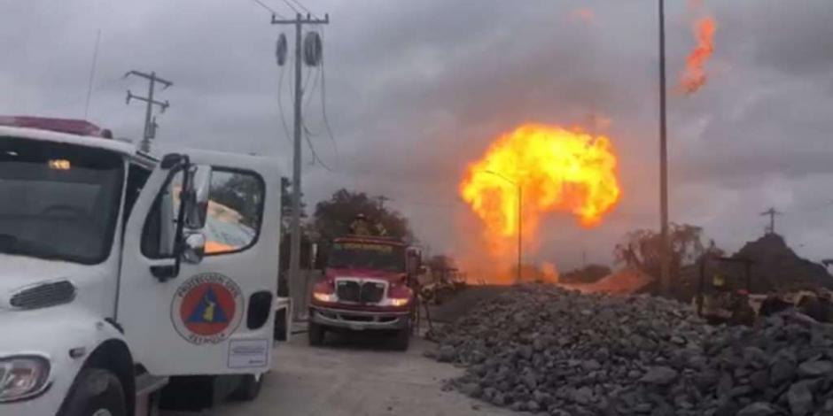 Fuga de gas provoca incendio de un gasoducto en Reynosa
