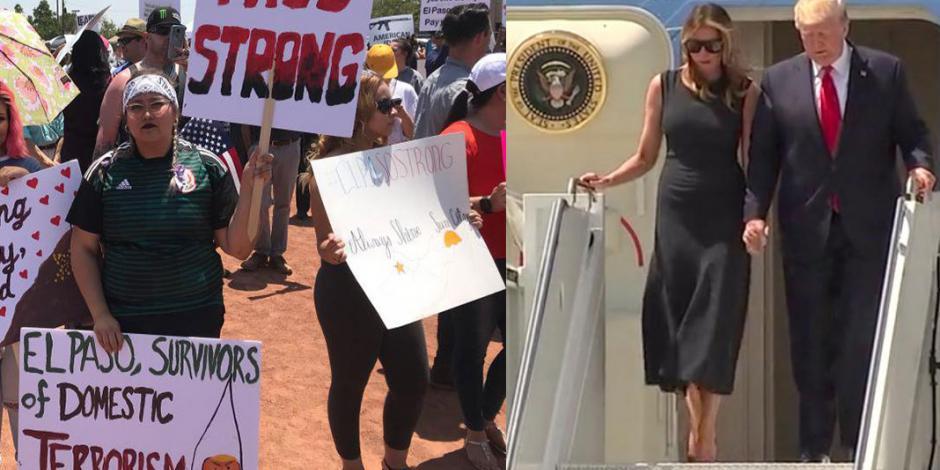 Con protestas, reciben a Trump en El Paso, Texas