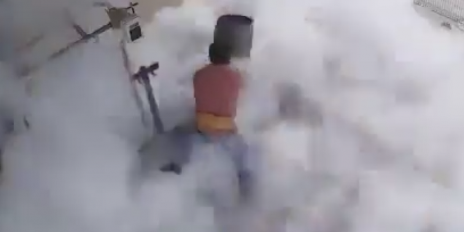VIDEO: Le explota tanque de gas y sufre quemaduras por congelamiento
