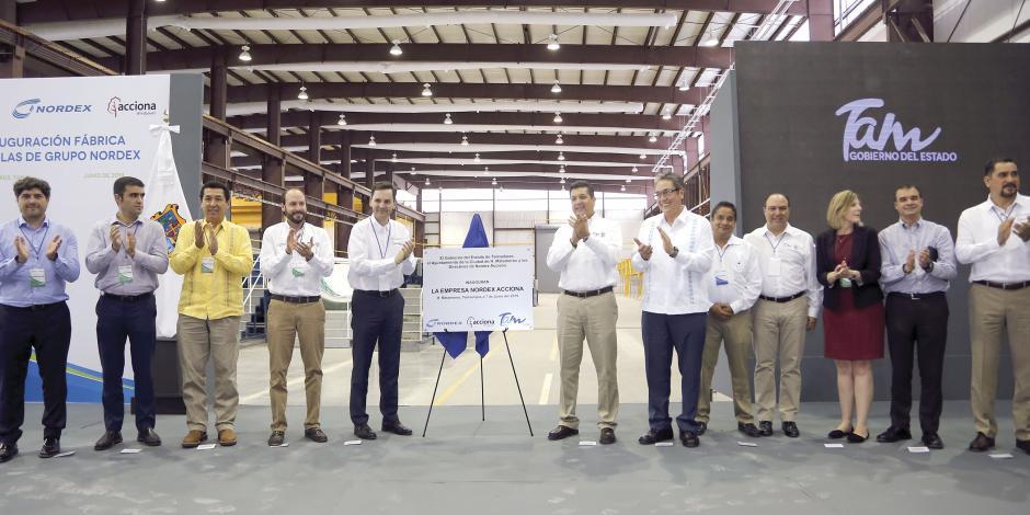 Inauguran segunda planta de palas eólicas en Tamaulipas