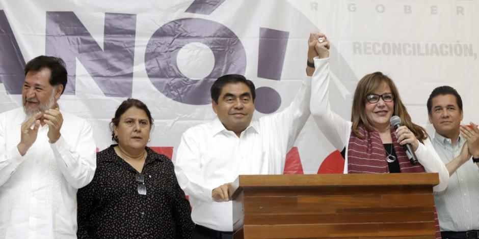 Yeidckol Polevnsky celebra triunfo en Puebla; augura éxito en BC