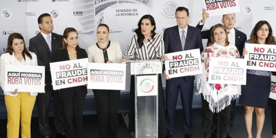 Senadores del PAN mantendrán protestas para frenar llegada de Piedra Ibarra a CNDH