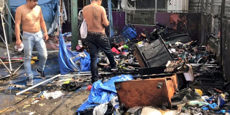 VIDEO: Se incendia campamento de damnificados del Multifamiliar Tlalpan