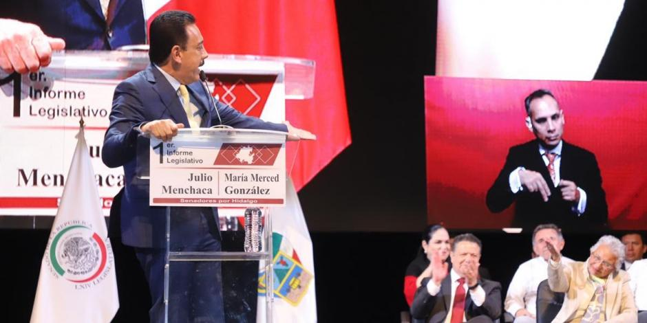 En informe de senadores de Morena, Omar Fayad llama a la unidad por Hidalgo