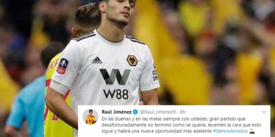 Raúl Jiménez manda mensaje tras la derrota del América ante Monterrey