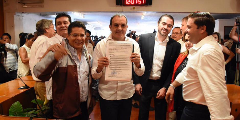 El 'Cuau' formaliza su registro como candidato al gobierno de Morelos