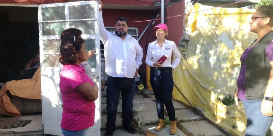 Lolbe Peraza constata afectaciones a viviendas a 8 meses de sismo