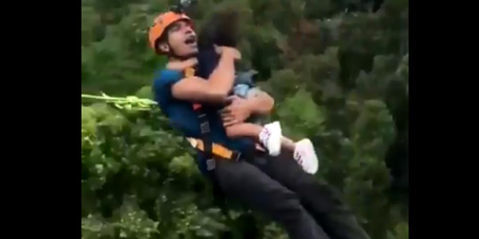VIDEO: Hombre salta del bungee con su hija de 2 años en brazos