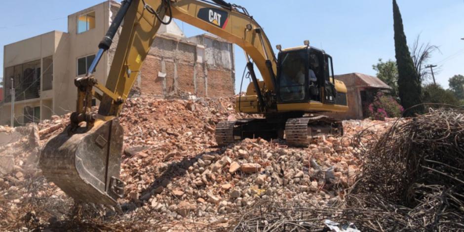 Finaliza demolición de edificio dañado por sismo en Tlalpan