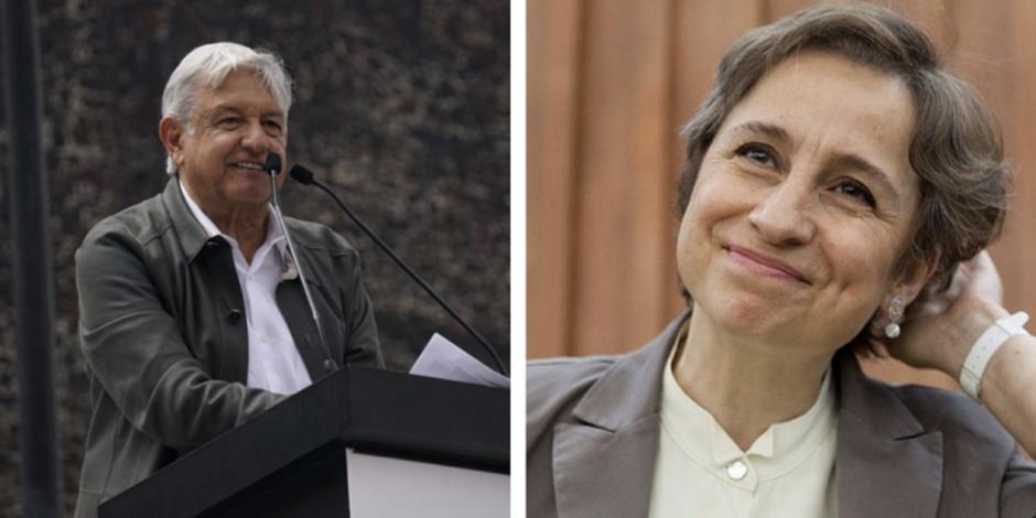 Felicita AMLO a Aristegui por regreso a la radio