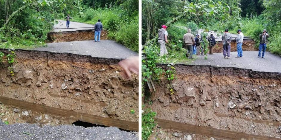 FOTOS: Lluvias parten carretera en Sierra Mixe de Oaxaca