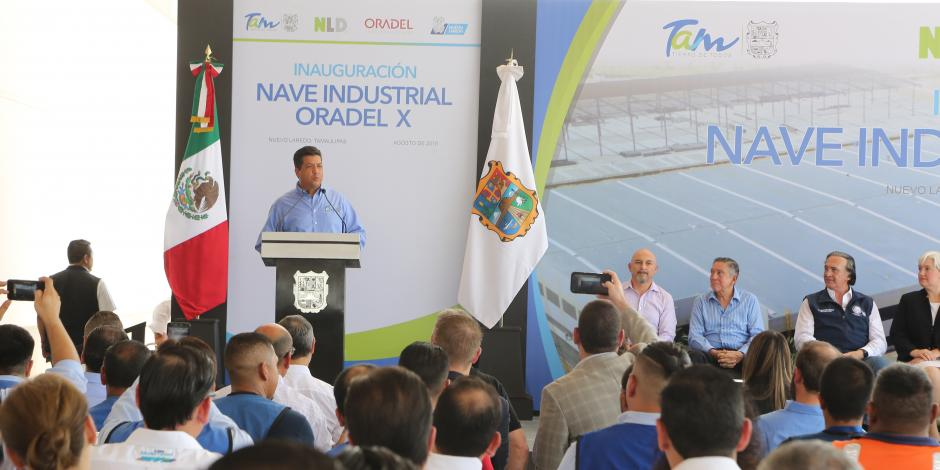 Gobernador de Tamaulipas inaugura la nave del Parque Industrial Oradel