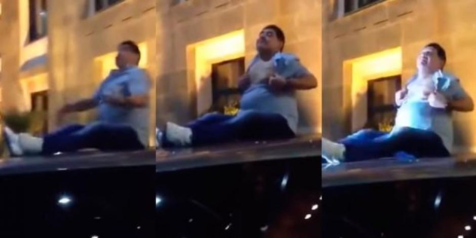 VIDEO: Maradona hace topless y canta sobre el techo de un carro