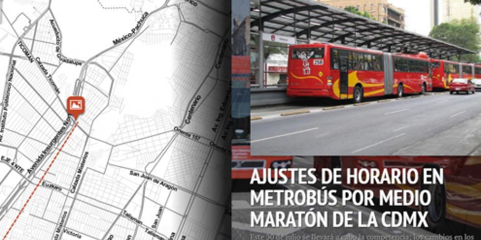 MAPA INTERACTIVO: Ajustes de horario en Metrobús por Maratón CDMX