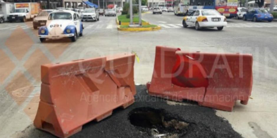 Se vuelve a hundir socavón reparado hace 10 días en costera de Acapulco