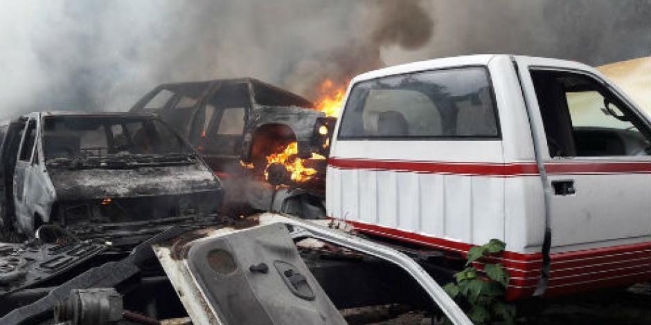 Reportan incendio en deshuesadero de Cuajimalpa