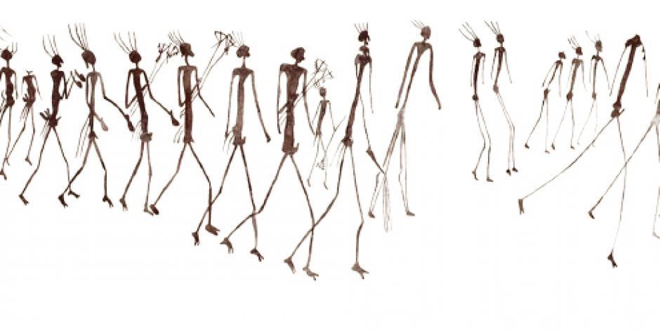 Reproducen en acuarela caza y  migración de culturas primitivas