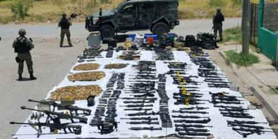 Asegura Sedena arsenal en Nuevo Laredo
