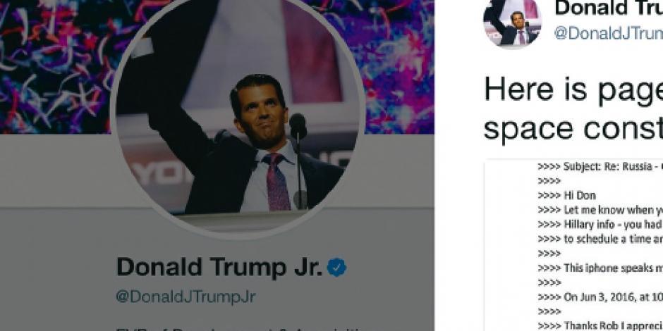 """Antes de la elección, Trump Jr. admitió """"encantado"""" ayuda rusa"""