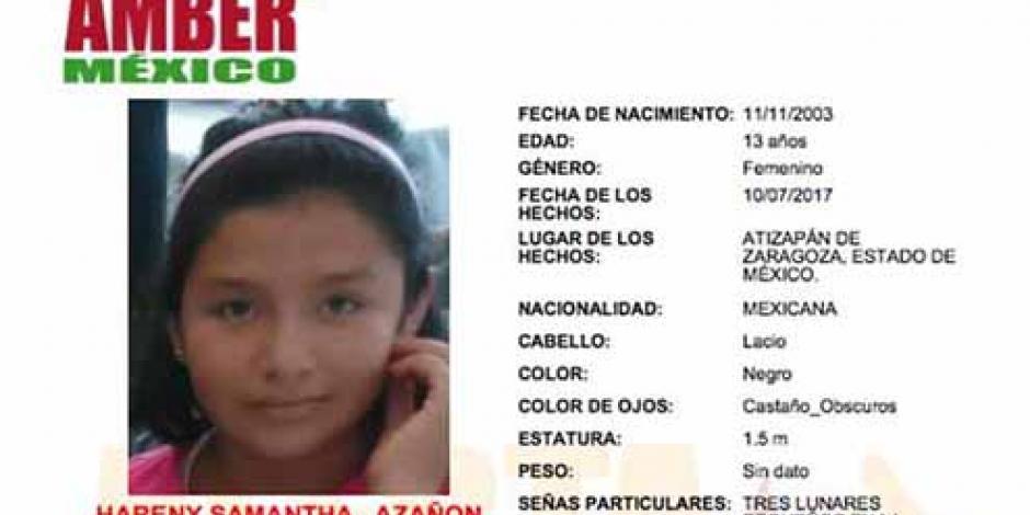 Desaparece niña de 13 años en Edomex