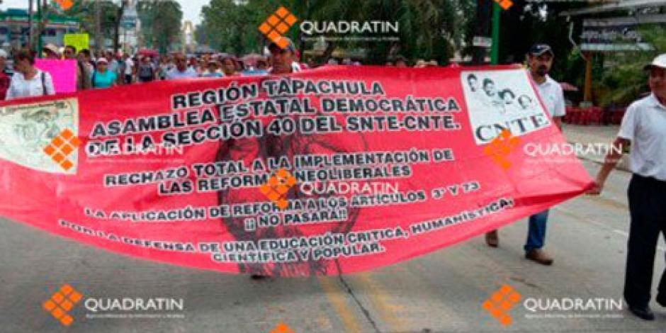 CNTE anuncia toma de alcaldías en Chiapas