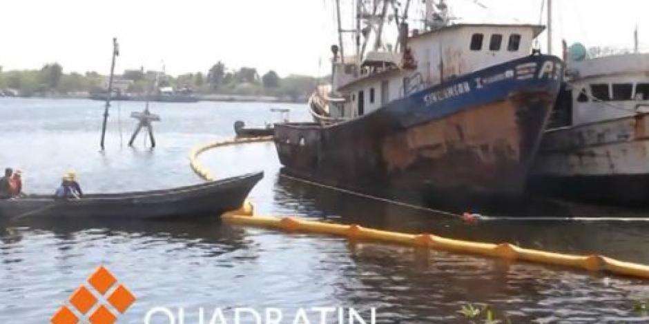 Atienden derrame de combustible por barco hundido en Chiapas