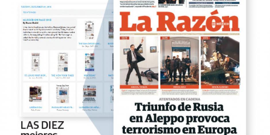 Distinguen portada de  La Razón sobre atentados junto a NYT, Libération...
