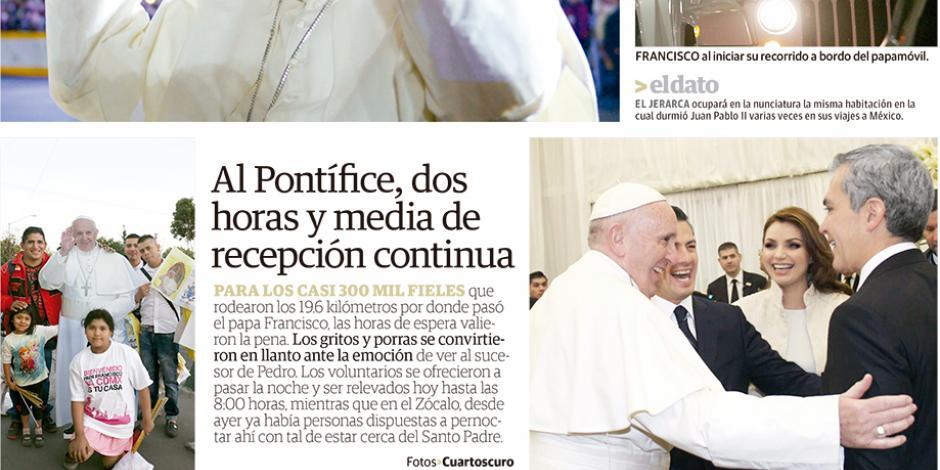 Al Pontífice, dos horas y media de recepción continua