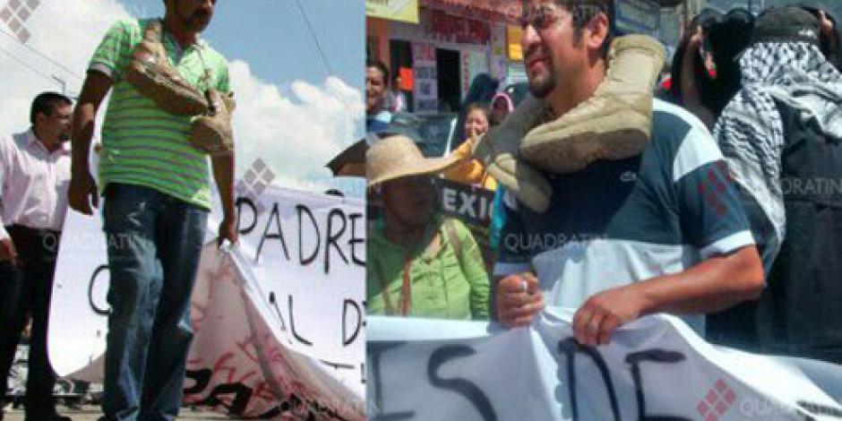 Maestros obligan a empleados de Protección Civil a marchar descalzos