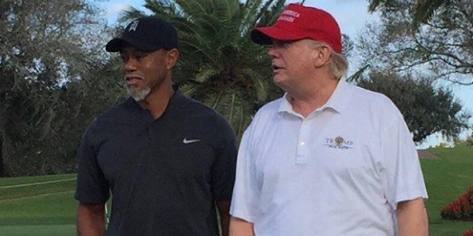 Tiger Woods juega golf en Miami con Donald Trump