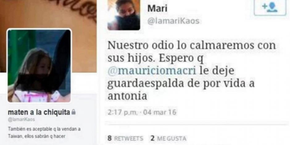 Mujer que amenazó a hija de Macri por Twitter es procesada