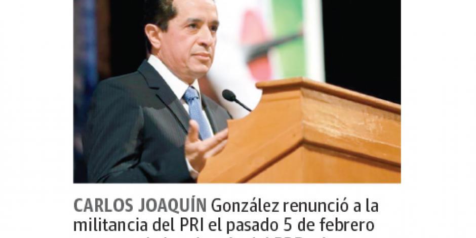 PRI impulsó carrera de Carlos Joaquín: Manlio