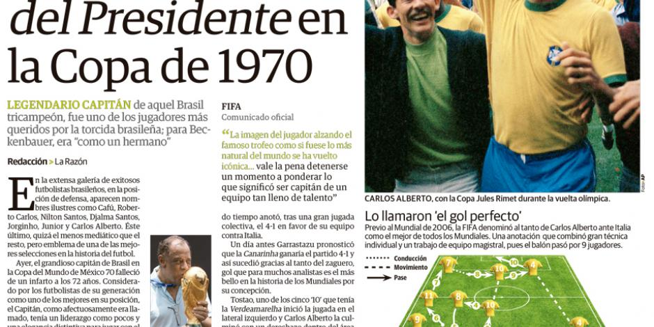Falleció Carlos Alberto, el del Gol del Presidente en la Copa de 1970