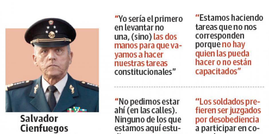 Cienfuegos  reclama que el Ejército vuelva a los cuarteles