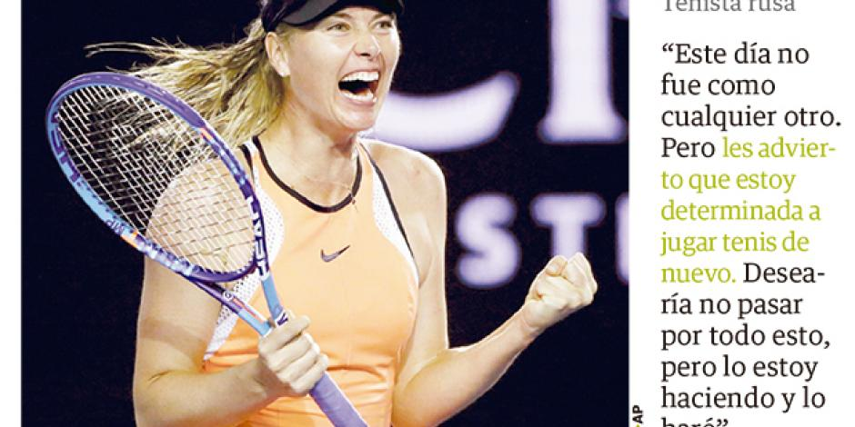 Sharapova advierte que volverá a jugar
