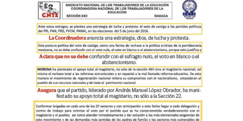 La CNTE manda brigadas para coaccionar voto por Morena