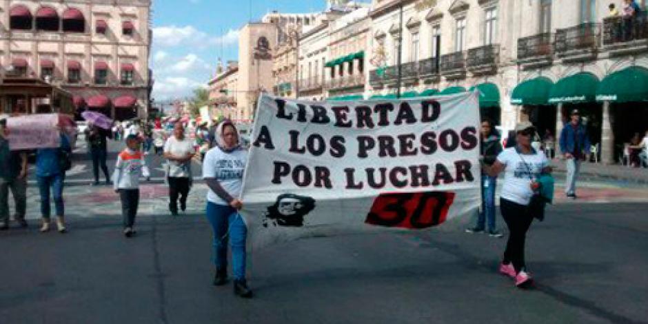 CNTE realiza mitin en centro de Michoacán