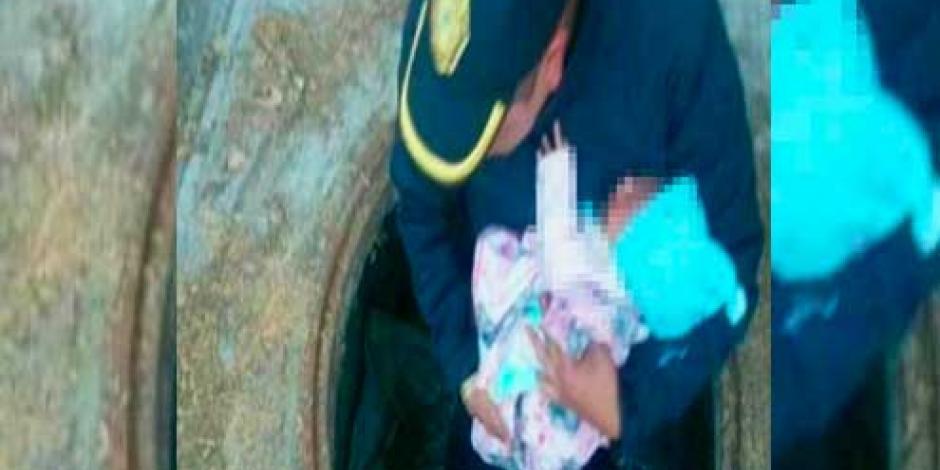 Rescatan a bebé abandonada en coladera de Venustiano Carranza