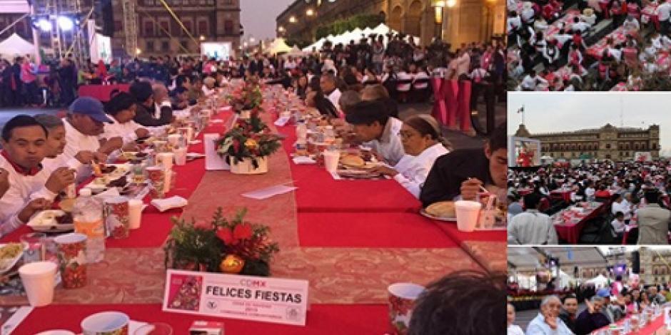 Celebra Mancera cena de Navidad en Zócalo capitalino