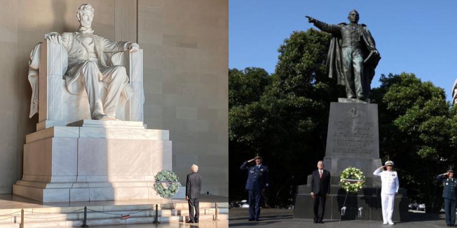 Rinde AMLO homenaje a Abraham Lincoln y Benito Juárez en Washington