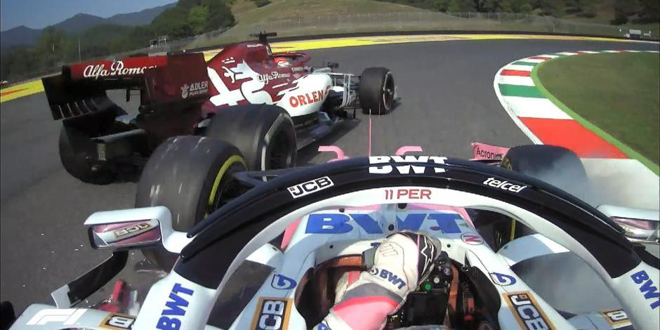 Sancionan a Checo Pérez por chocar con Raikkonen en práctica del GP de La  Toscana