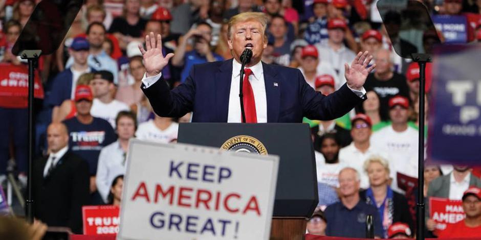 El presidente Donald Trump en campaña.