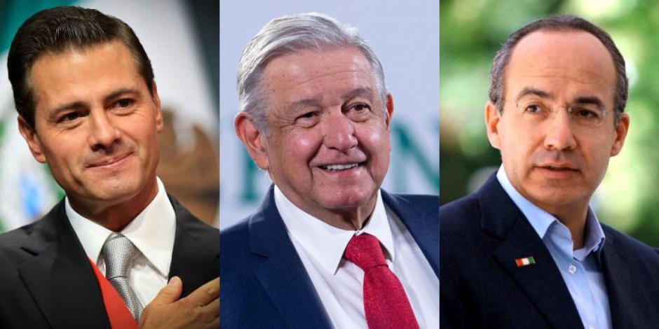 En la foto de izquierda a derecha: El expresidente Enrique Peña Nieto, el presidente López Obrador y el exmandatario Felipe Calderón