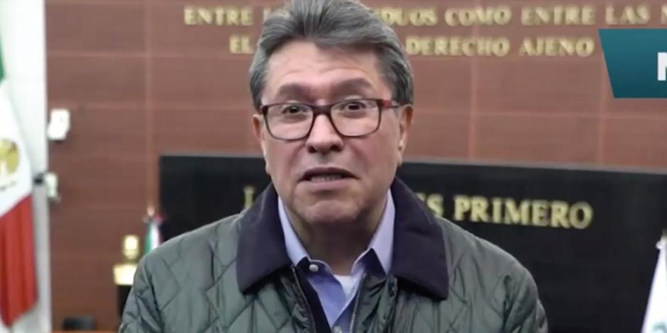 Ricardo Monreal durante su video-mensaje desde el Senado, ayer.