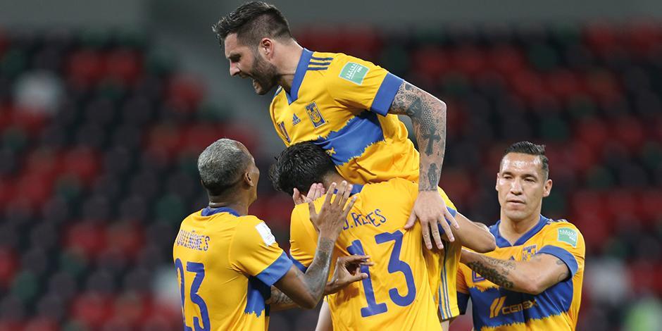 Gignac celebra su gol de ayer ante los brasileños en Qatar.