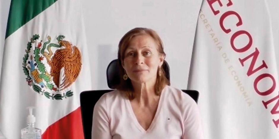 Tatiana Clouthier, secretaria de Economía, ayer, en la presentación.
