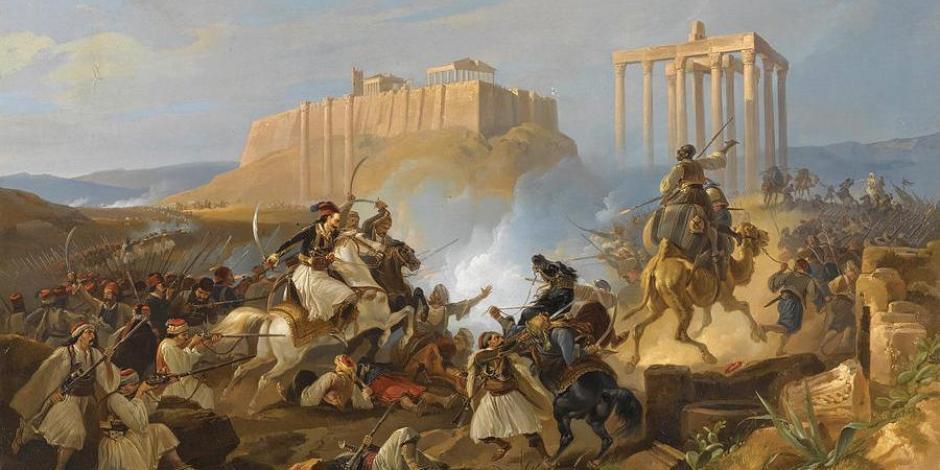 Lienzo que retrata el Asedio de la Acrópolis, en 1826.